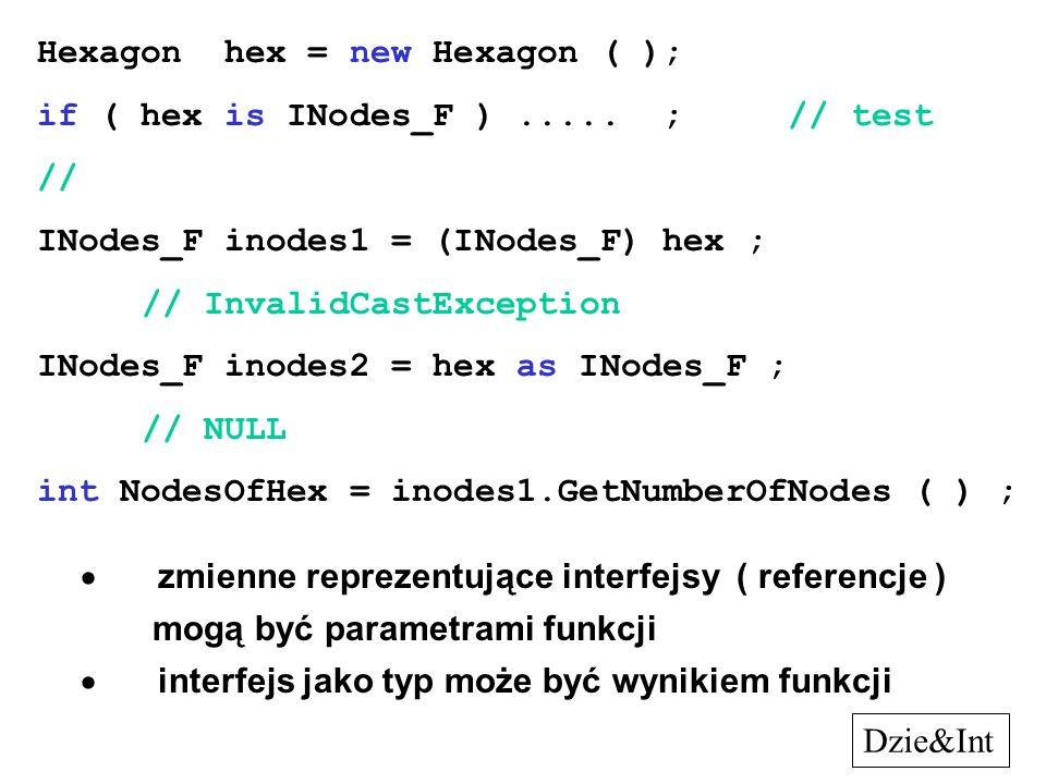 Hexagon hex = new Hexagon ( ); if ( hex is INodes_F )..... ; // test // INodes_F inodes1 = (INodes_F) hex ; // InvalidCastException INodes_F inodes2 =