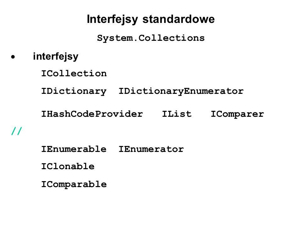 Interfejsy standardowe System.Collections interfejsy ICollection IDictionary IDictionaryEnumerator IHashCodeProvider IList IComparer // IEnumerable IE