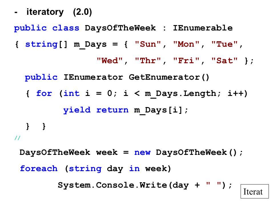 - iteratory (2.0) public class DaysOfTheWeek : IEnumerable { string[] m_Days = {
