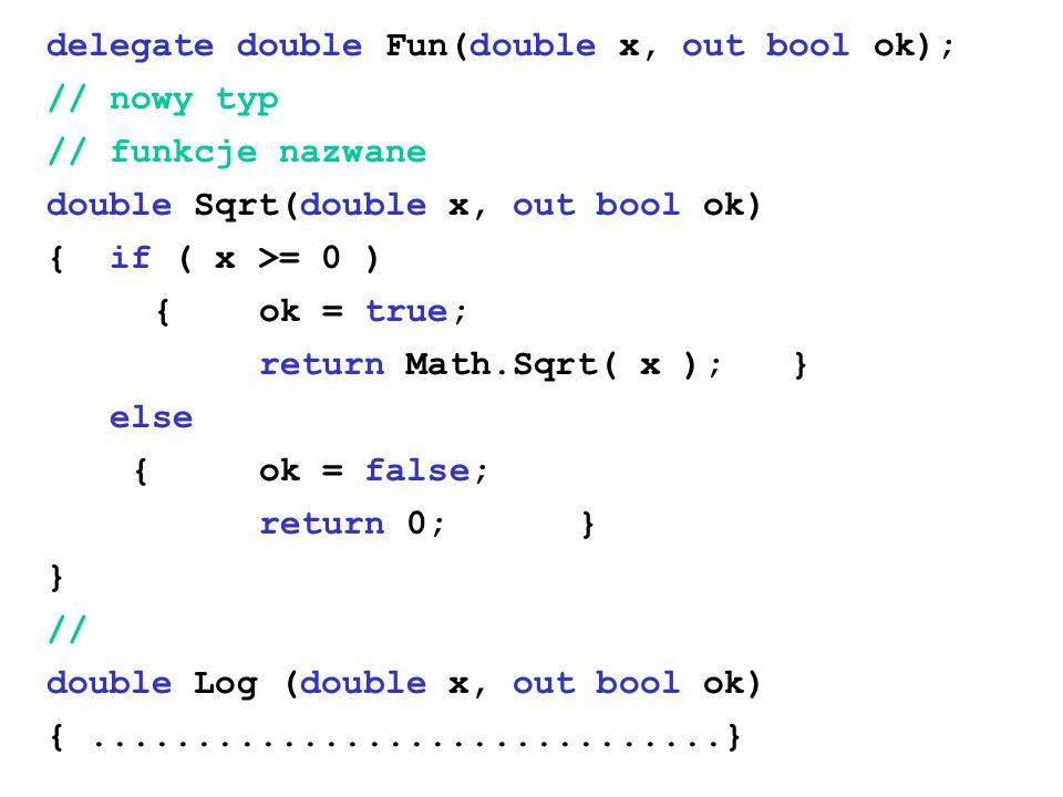 delegate double Fun(double x, out bool ok); // nowy typ // funkcje nazwane double Sqrt(double x, out bool ok) { if ( x >= 0 ) {ok = true; return Math.