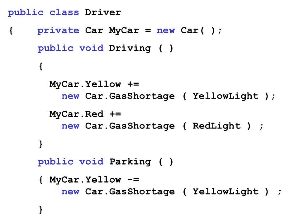 public class Driver { private Car MyCar = new Car( ); public void Driving ( ) { MyCar.Yellow += new Car.GasShortage ( YellowLight ); MyCar.Red += new
