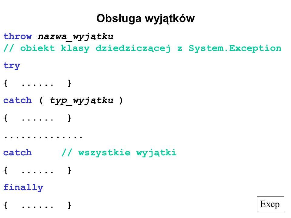 Obsługa wyjątków throw nazwa_wyjątku // obiekt klasy dziedziczącej z System.Exception try {...... } catch ( typ_wyjątku ) {...... }.............. catc