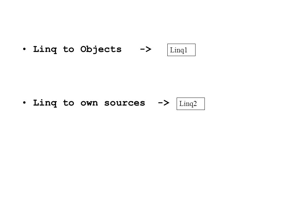 Linq to Objects -> Linq to own sources -> Linq1 Linq2