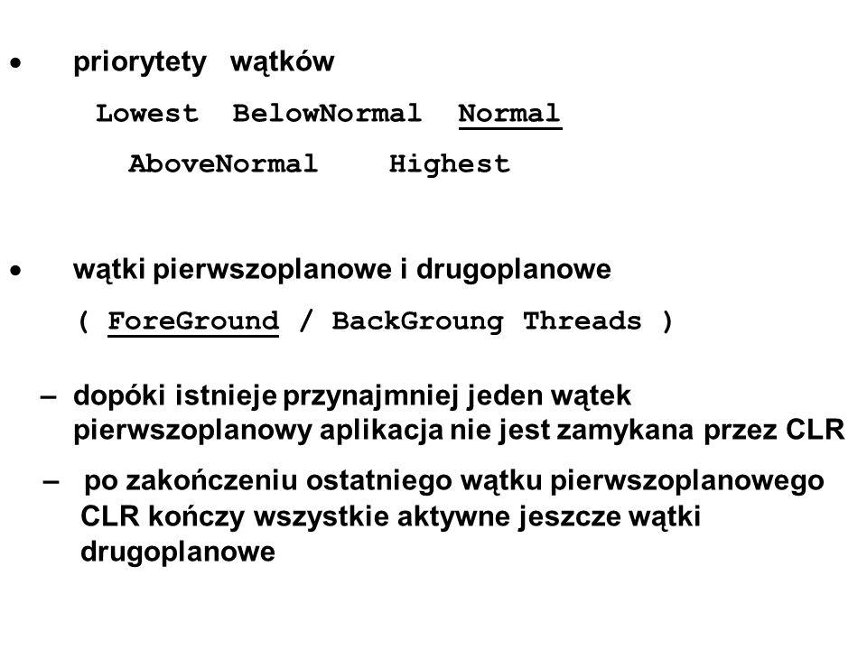priorytety wątków Lowest BelowNormal Normal AboveNormal Highest wątki pierwszoplanowe i drugoplanowe ( ForeGround / BackGroung Threads ) – dopóki istn