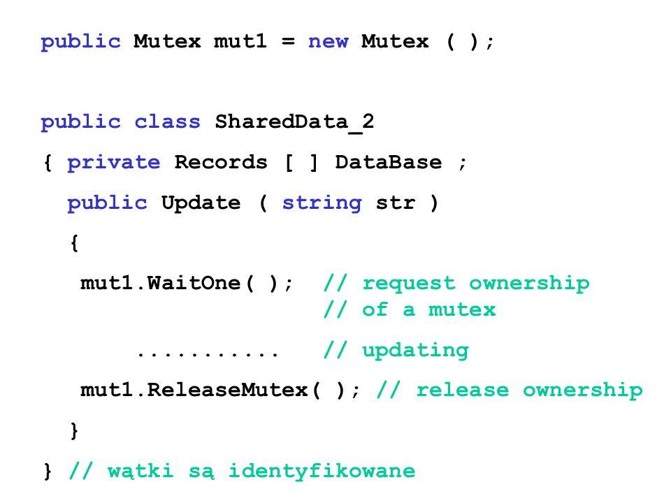 public Mutex mut1 = new Mutex ( ); public class SharedData_2 { private Records [ ] DataBase ; public Update ( string str ) { mut1.WaitOne( ); // reque