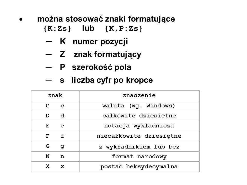 można stosować znaki formatujące {K:Zs} lub {K,P:Zs} K numer pozycji Z znak formatujący P szerokość pola s liczba cyfr po kropce znakznaczenie C cwalu