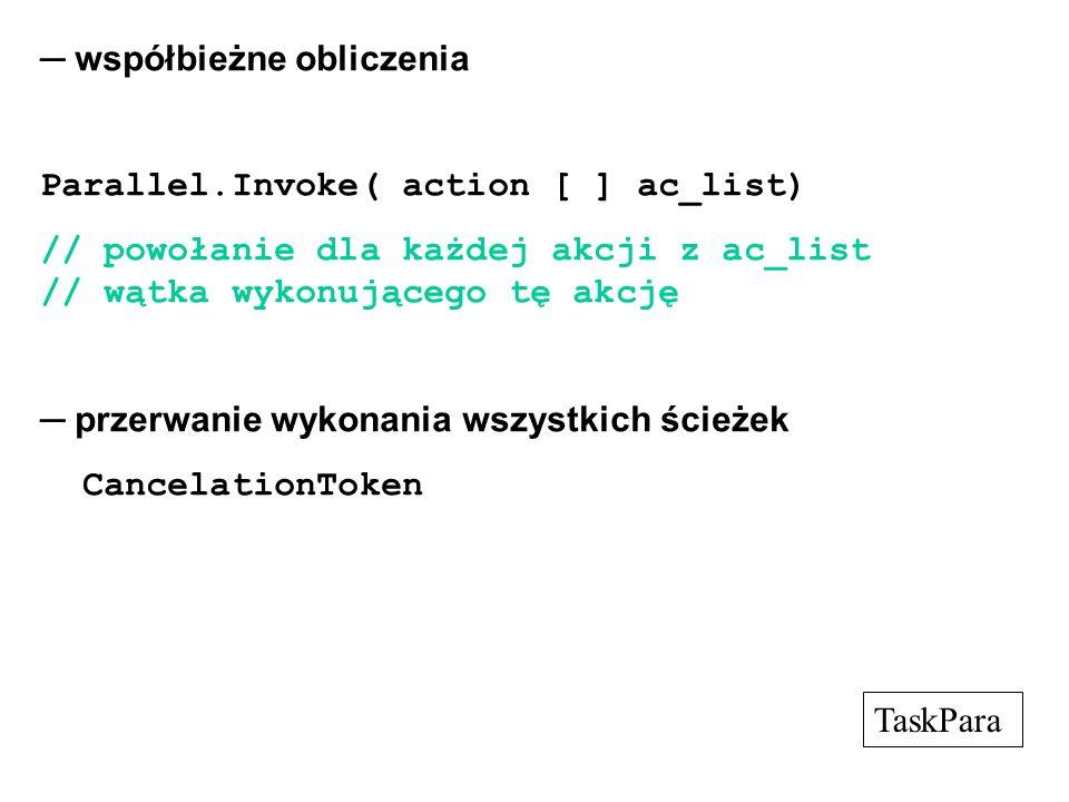 współbieżne obliczenia Parallel.Invoke( action [ ] ac_list) // powołanie dla każdej akcji z ac_list // wątka wykonującego tę akcję przerwanie wykonani