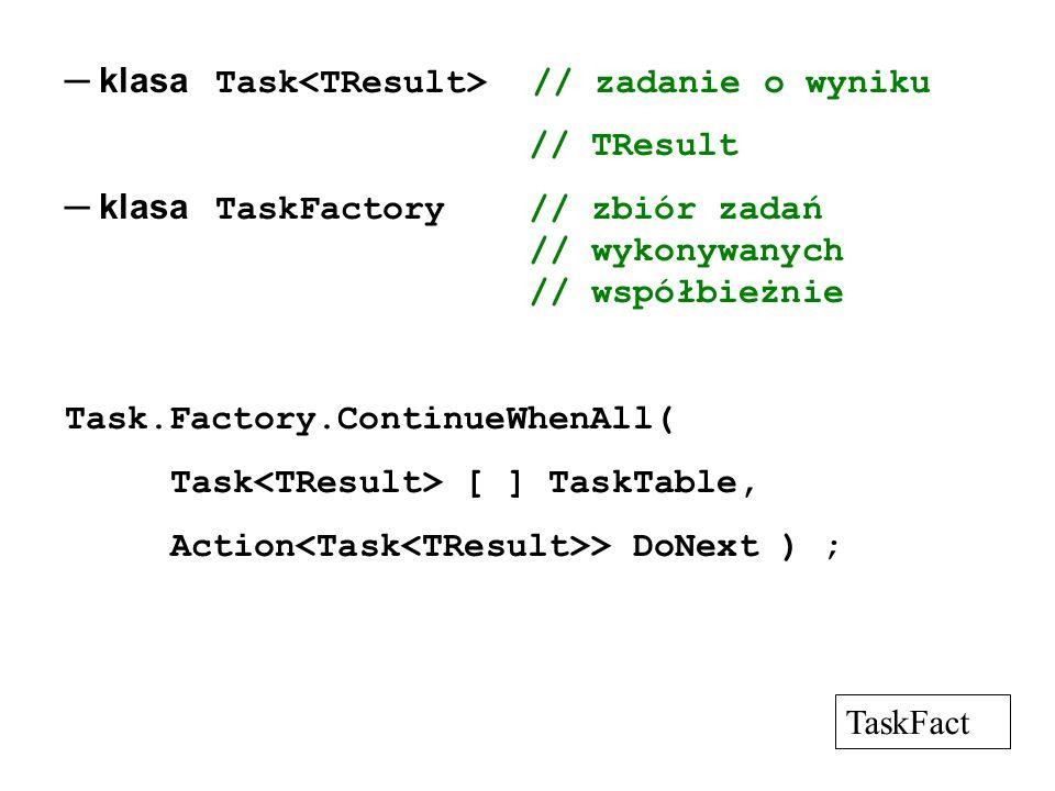 klasa Task // zadanie o wyniku // TResult klasa TaskFactory // zbiór zadań // wykonywanych // współbieżnie Task.Factory.ContinueWhenAll( Task [ ] Task