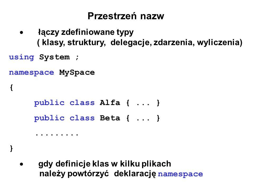 Przestrzeń nazw łączy zdefiniowane typy ( klasy, struktury, delegacje, zdarzenia, wyliczenia) using System ; namespace MySpace { public class Alfa {..