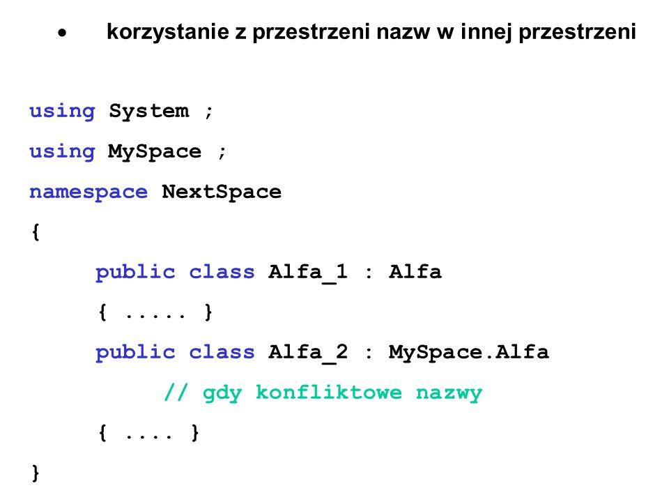 korzystanie z przestrzeni nazw w innej przestrzeni using System ; using MySpace ; namespace NextSpace { public class Alfa_1 : Alfa {..... } public cla