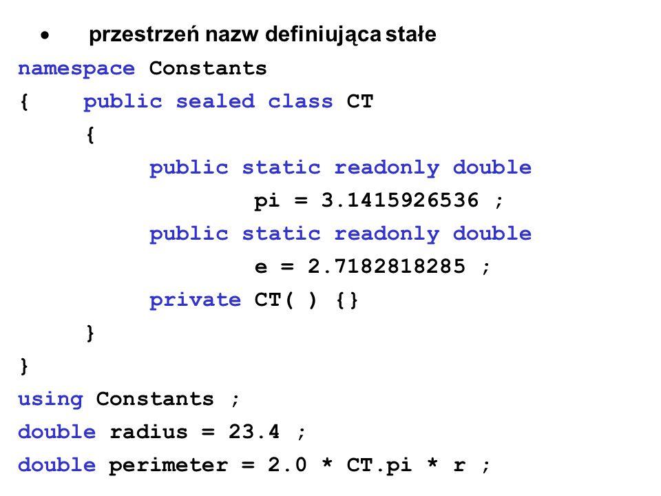 przestrzeń nazw definiująca stałe namespace Constants {public sealed class CT { public static readonly double pi = 3.1415926536 ; public static readon