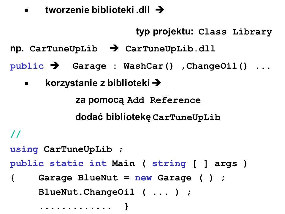 tworzenie biblioteki.dll typ projektu: Class Library np. CarTuneUpLib CarTuneUpLib.dll public Garage : WashCar(),ChangeOil()... korzystanie z bibliote