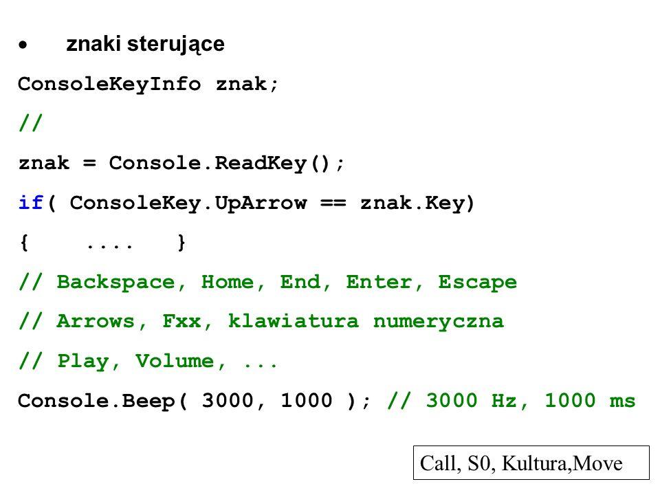 znaki sterujące ConsoleKeyInfo znak; // znak = Console.ReadKey(); if( ConsoleKey.UpArrow == znak.Key) {.... } // Backspace, Home, End, Enter, Escape /