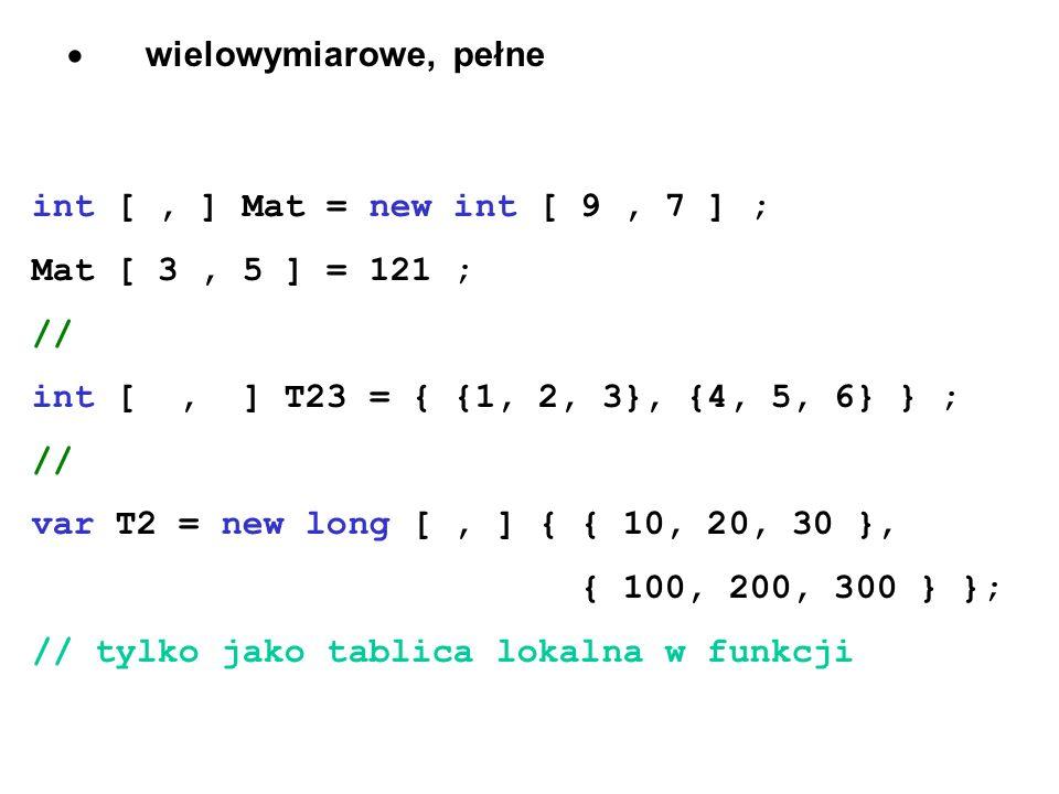 wielowymiarowe, pełne int [, ] Mat = new int [ 9, 7 ] ; Mat [ 3, 5 ] = 121 ; // int [, ] T23 = { {1, 2, 3}, {4, 5, 6} } ; // var T2 = new long [, ] {