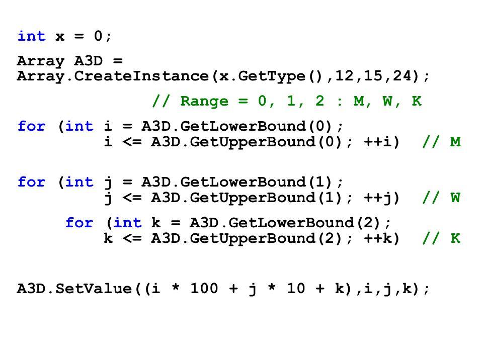 int x = 0; Array A3D = Array.CreateInstance(x.GetType(),12,15,24); // Range = 0, 1, 2 : M, W, K for (int i = A3D.GetLowerBound(0); i <= A3D.GetUpperBo