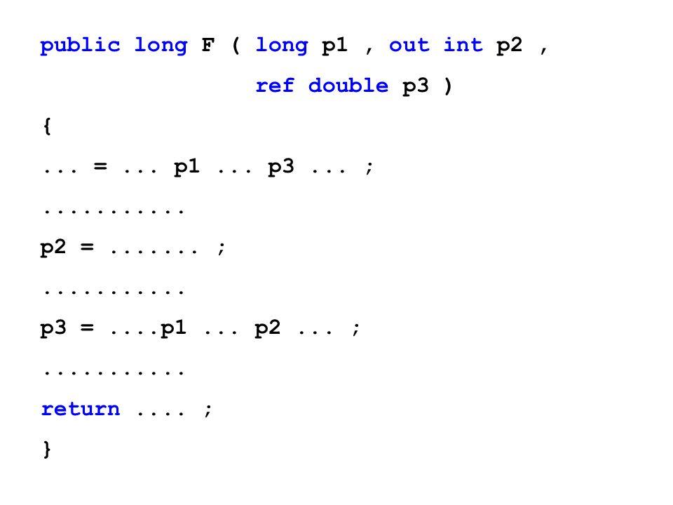 public long F ( long p1, out int p2, ref double p3 ) {... =... p1... p3... ;........... p2 =....... ;........... p3 =....p1... p2... ;........... retu