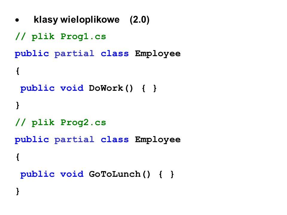 klasy wieloplikowe (2.0) // plik Prog1.cs public partial class Employee { public void DoWork() { } } // plik Prog2.cs public partial class Employee {