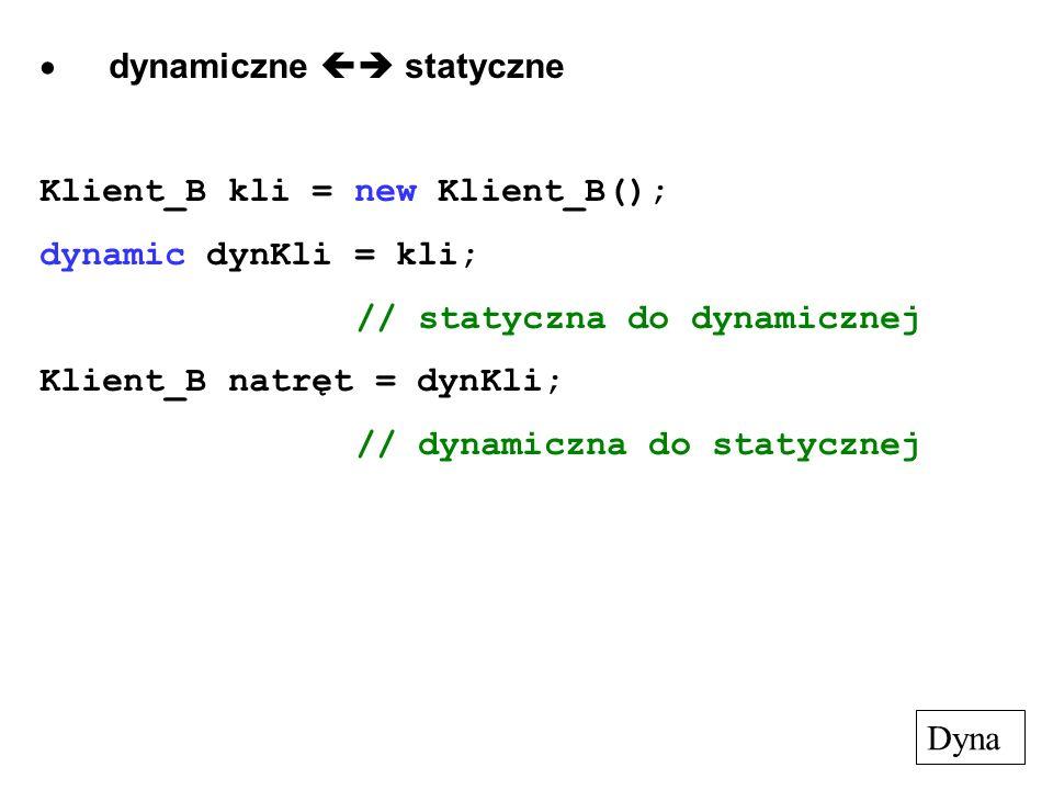 dynamiczne statyczne Klient_B kli = new Klient_B(); dynamic dynKli = kli; // statyczna do dynamicznej Klient_B natręt = dynKli; // dynamiczna do staty