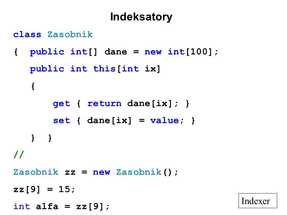 Indeksatory class Zasobnik { public int[] dane = new int[100]; public int this[int ix] { get { return dane[ix]; } set { dane[ix] = value; } } } // Zas