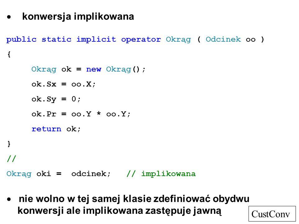 konwersja implikowana public static implicit operator Okrąg ( Odcinek oo ) { Okrąg ok = new Okrąg(); ok.Sx = oo.X; ok.Sy = 0; ok.Pr = oo.Y * oo.Y; ret