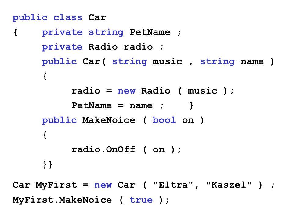 public class Car {private string PetName ; private Radio radio ; public Car( string music, string name ) { radio = new Radio ( music ); PetName = name