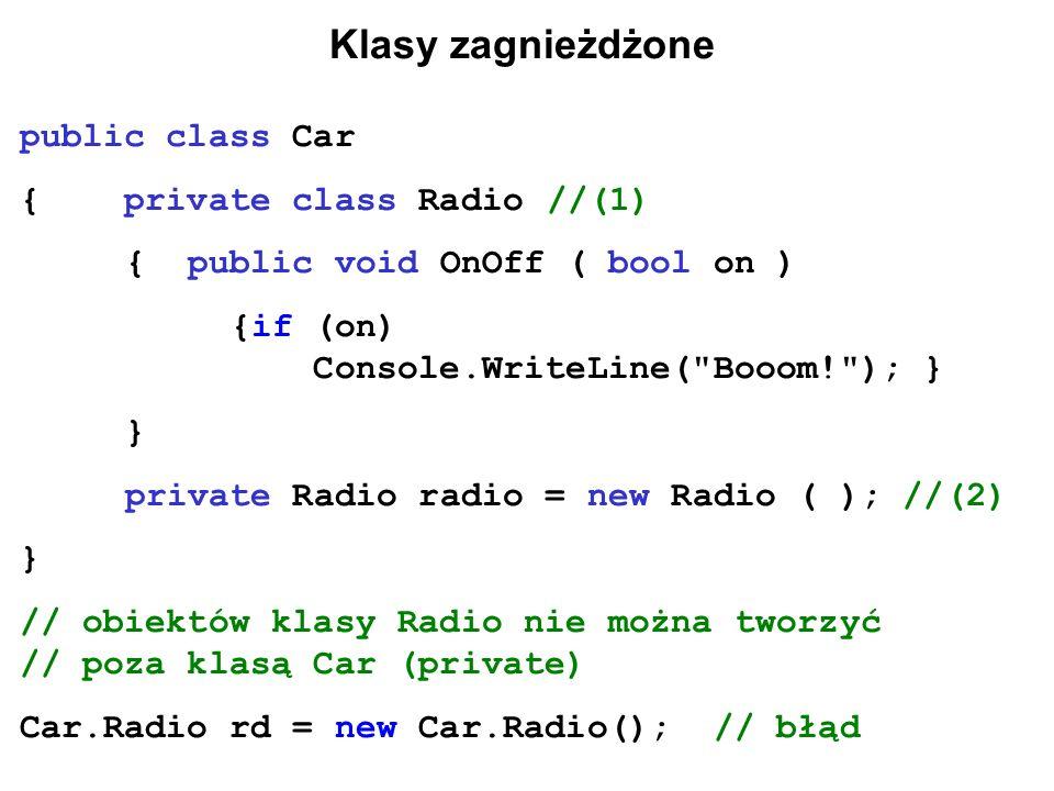 Klasy zagnieżdżone public class Car { private class Radio//(1) { public void OnOff ( bool on ) {if (on) Console.WriteLine(