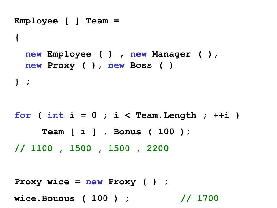 Employee [ ] Team = { new Employee ( ), new Manager ( ), new Proxy ( ), new Boss ( ) } ; for ( int i = 0 ; i < Team.Length ; ++i ) Team [ i ]. Bonus (