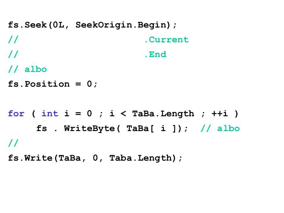 fs.Seek(0L, SeekOrigin.Begin); //.Current //.End // albo fs.Position = 0; for ( int i = 0 ; i < TaBa.Length ; ++i ) fs. WriteByte( TaBa[ i ]); // albo