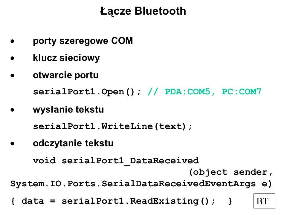 Łącze Bluetooth porty szeregowe COM klucz sieciowy otwarcie portu serialPort1.Open(); // PDA:COM5, PC:COM7 wysłanie tekstu serialPort1.WriteLine(text); odczytanie tekstu void serialPort1_DataReceived (object sender, System.IO.Ports.SerialDataReceivedEventArgs e) { data = serialPort1.ReadExisting(); } BT