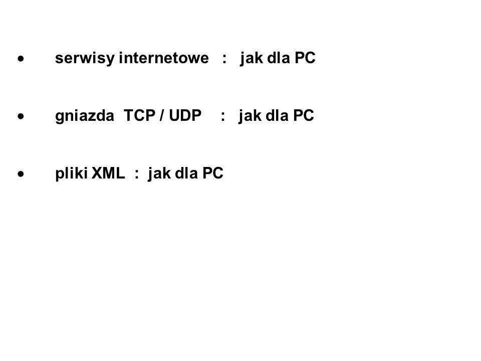 serwisy internetowe : jak dla PC gniazda TCP / UDP : jak dla PC pliki XML : jak dla PC