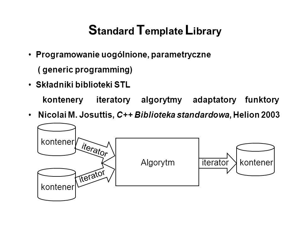 S tandard T emplate L ibrary Programowanie uogólnione, parametryczne ( generic programming) Składniki biblioteki STL kontenery iteratory algorytmy ada