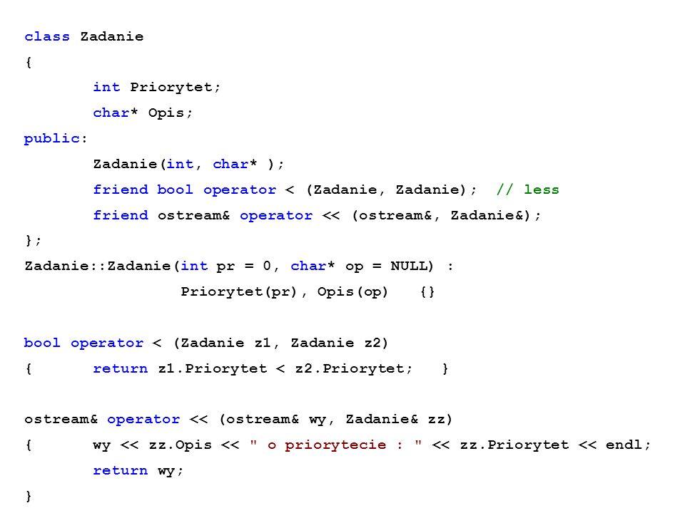 class Zadanie { int Priorytet; char* Opis; public: Zadanie(int, char* ); friend bool operator < (Zadanie, Zadanie); // less friend ostream& operator <