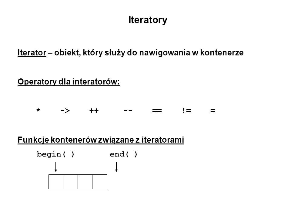 Iteratory Iterator – obiekt, który służy do nawigowania w kontenerze Operatory dla interatorów: * -> ++ -- == != = Funkcje kontenerów związane z itera