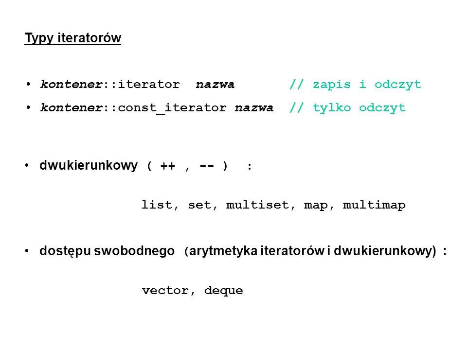 dwukierunkowy ( ++, -- ) : list, set, multiset, map, multimap dostępu swobodnego ( arytmetyka iteratorów i dwukierunkowy) : vector, deque Typy iterato