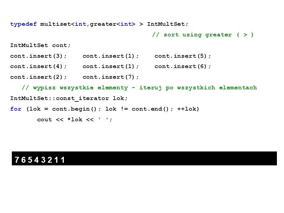 typedef multiset > IntMultSet; // sort using greater ( > ) IntMultSet cont; cont.insert(3); cont.insert(1); cont.insert(5); cont.insert(4); cont.inser