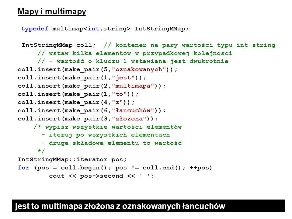 Mapy i multimapy typedef multimap IntStringMMap; IntStringMMap coll; // kontener na pary wartości typu int-string // wstaw kilka elementów w przypadko