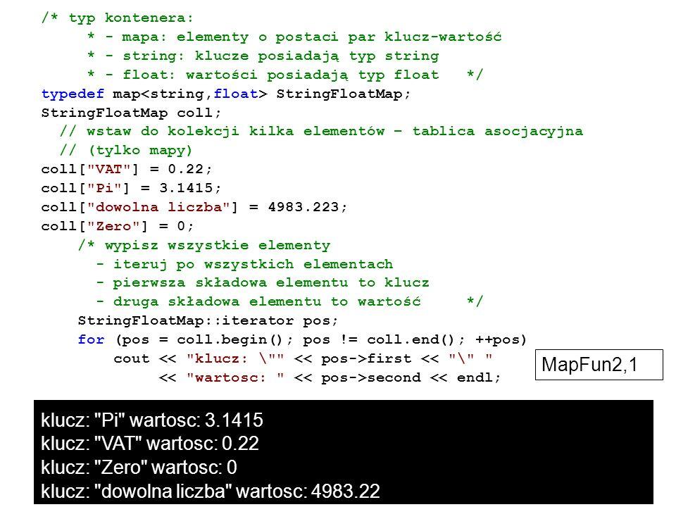 /* typ kontenera: * - mapa: elementy o postaci par klucz-wartość * - string: klucze posiadają typ string * - float: wartości posiadają typ float */ ty
