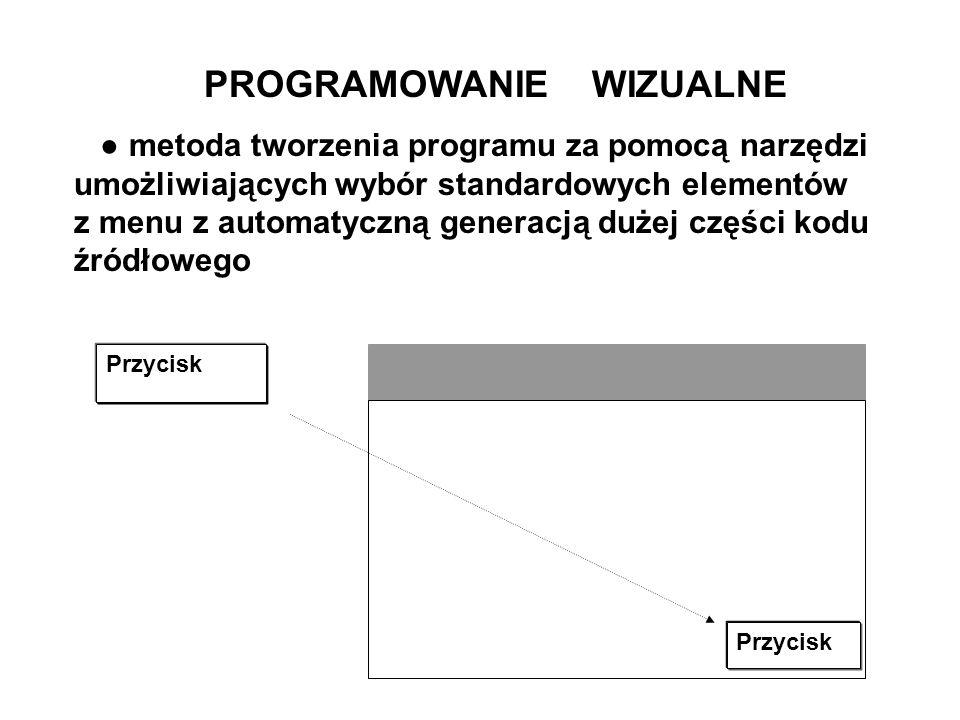 PROGRAMOWANIE WIZUALNE metoda tworzenia programu za pomocą narzędzi umożliwiających wybór standardowych elementów z menu z automatyczną generacją duże