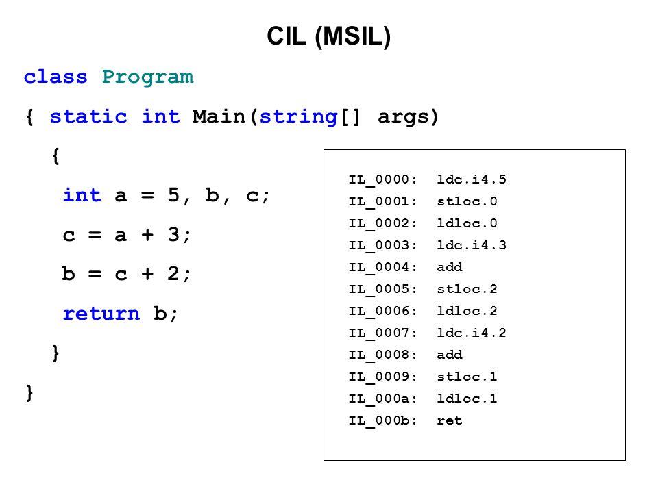 CIL (MSIL) class Program { static int Main(string[] args) { int a = 5, b, c; c = a + 3; b = c + 2; return b; } IL_0000: ldc.i4.5 IL_0001: stloc.0 IL_0