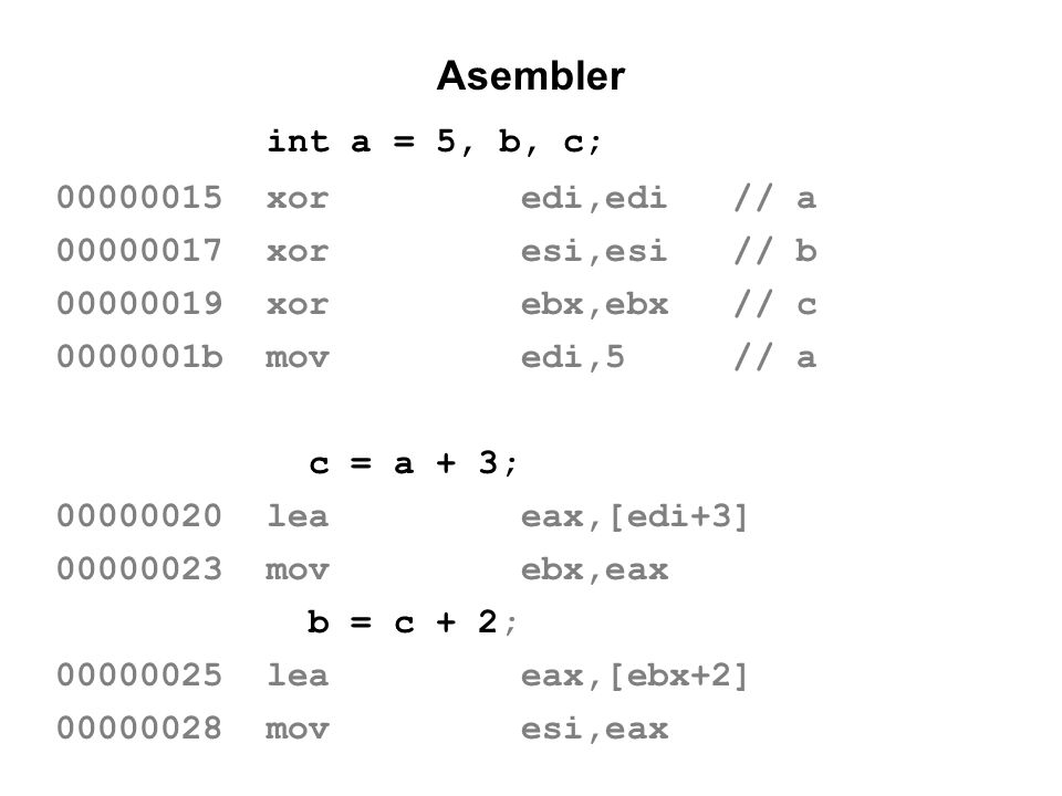 Asembler int a = 5, b, c; 00000015 xor edi,edi // a 00000017 xor esi,esi // b 00000019 xor ebx,ebx // c 0000001b mov edi,5 // a c = a + 3; 00000020 le