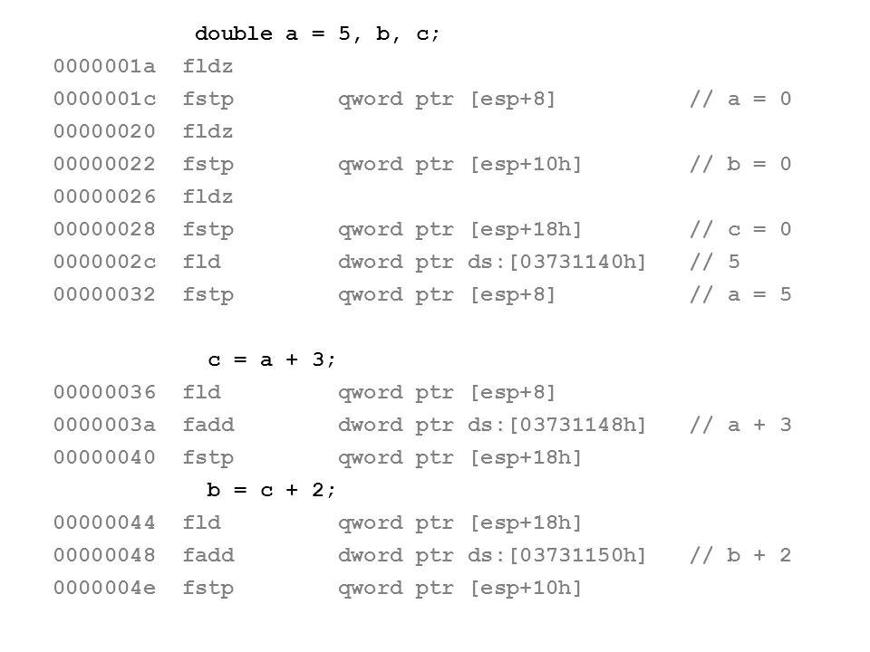 double a = 5, b, c; 0000001a fldz 0000001c fstp qword ptr [esp+8] // a = 0 00000020 fldz 00000022 fstp qword ptr [esp+10h] // b = 0 00000026 fldz 0000