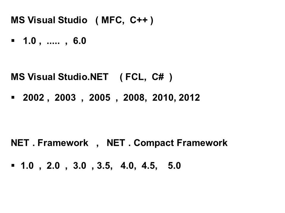 MS Visual Studio ( MFC, C++ ) 1.0,....., 6.0 MS Visual Studio.NET ( FCL, C# ) 2002, 2003, 2005, 2008, 2010, 2012 NET. Framework, NET. Compact Framewor
