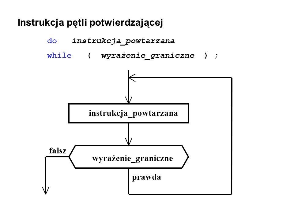 Instrukcja pętli potwierdzającej do instrukcja_powtarzana while ( wyrażenie_graniczne ) ; instrukcja_powtarzana wyrażenie_graniczne fałsz prawda