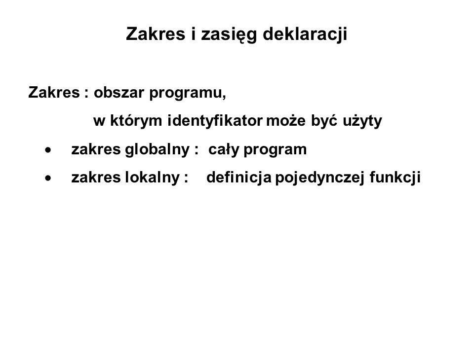 Zakres i zasięg deklaracji Zakres : obszar programu, w którym identyfikator może być użyty zakres globalny : cały program zakres lokalny : definicja pojedynczej funkcji