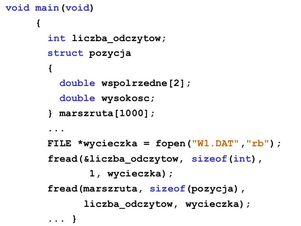 void main(void) { int liczba _ odczytow; struct pozycja { double wspolrzedne[2]; double wysokosc; } marszruta[1000];...