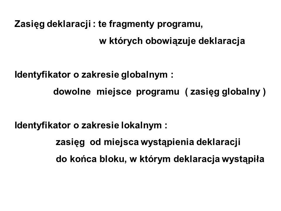 Zasięg deklaracji : te fragmenty programu, w których obowiązuje deklaracja Identyfikator o zakresie globalnym : dowolne miejsce programu ( zasięg globalny ) Identyfikator o zakresie lokalnym : zasięg od miejsca wystąpienia deklaracji do końca bloku, w którym deklaracja wystąpiła