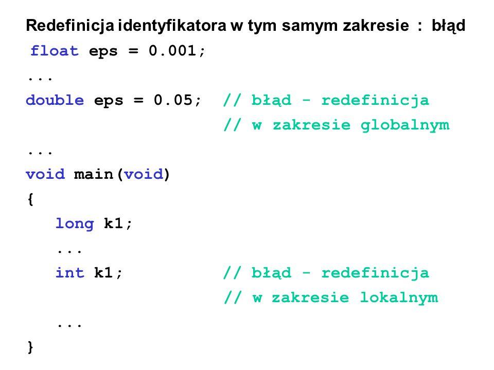 Redefinicja identyfikatora w tym samym zakresie : błąd float eps = 0.001;...