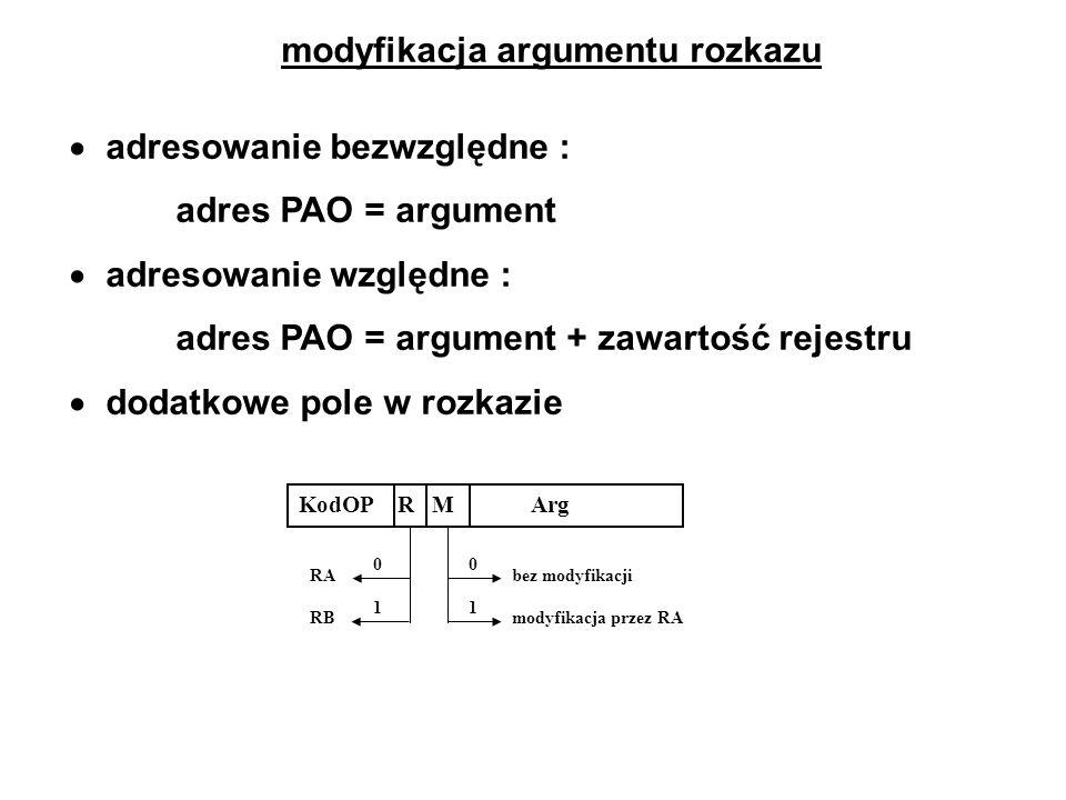modyfikacja argumentu rozkazu adresowanie bezwzględne : adres PAO = argument adresowanie względne : adres PAO = argument + zawartość rejestru dodatkow