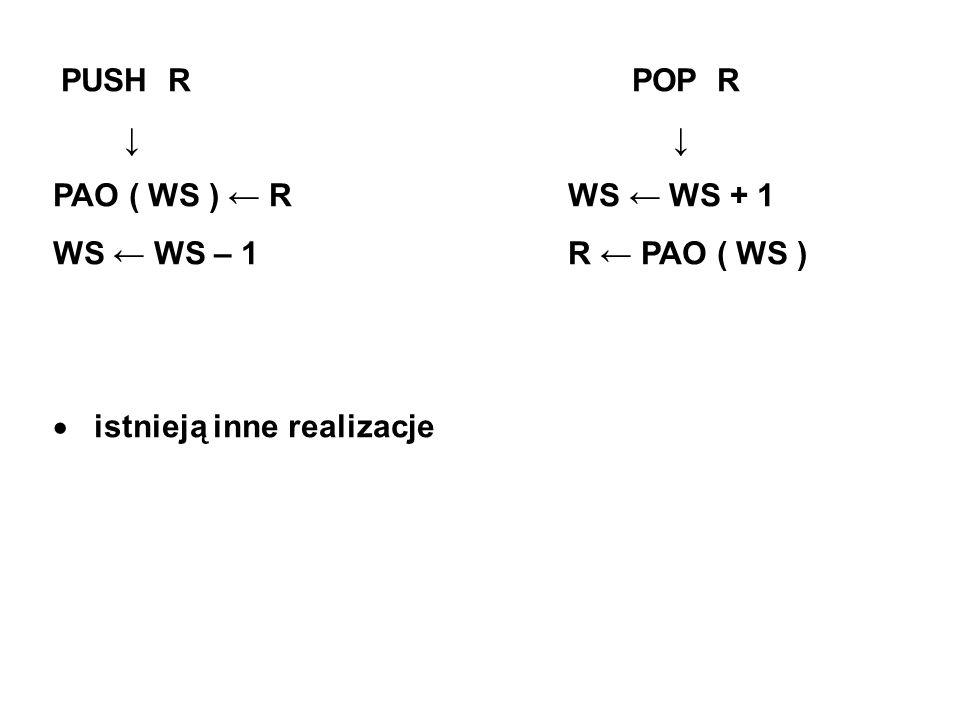 PUSH R POP R PAO ( WS ) R WS WS + 1 WS WS – 1 R PAO ( WS ) istnieją inne realizacje