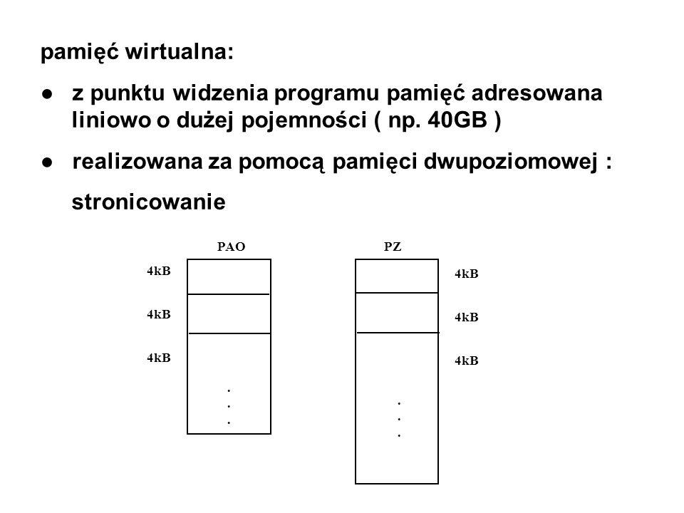 pamięć wirtualna: z punktu widzenia programu pamięć adresowana liniowo o dużej pojemności ( np. 40GB ) realizowana za pomocą pamięci dwupoziomowej : s